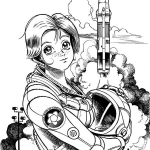 A Beautiful Female Astronaut On The Space Center Coloring Page