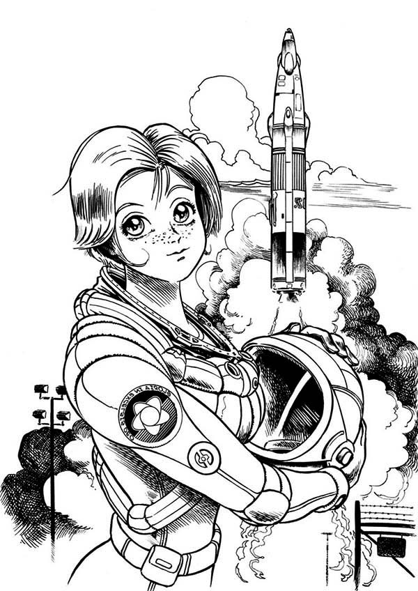 A Beautiful Female Astronaut On The Space Center Coloring