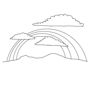 A Beautiful Rainbow Over The Mountain Coloring Page