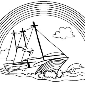 A Boat Sailing With A Lovely Rainbow In The Background Coloring Page