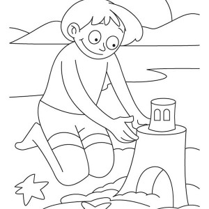 A Boy Making A Sand Castle Coloring Page