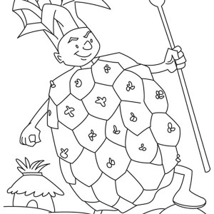 A Boy In Pineapple Costume Coloring Page