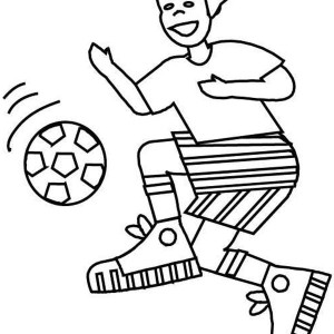 A Boy With Perfect Ball Handling On Soccer Game Coloring Page