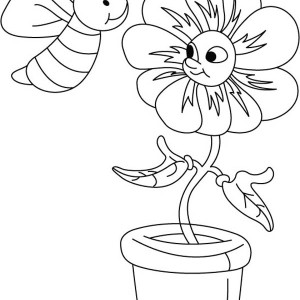 A Bumblebee Making Chat With The Flower Coloring Page