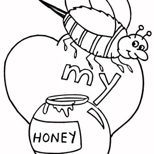 A Bumblebee With Valentines Honey Coloring Page
