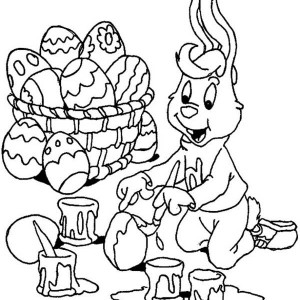 A Bunny Boy Painting Easter Eggs Happily Coloring Page