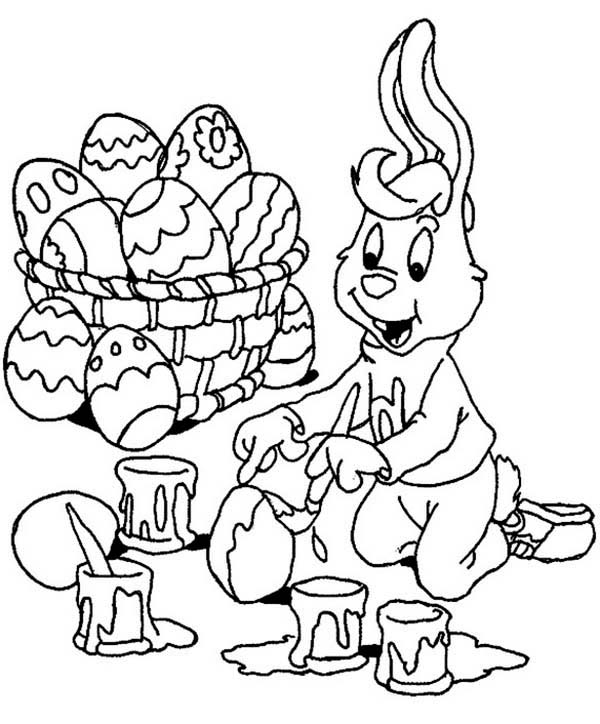 A Bunny Boy Painting Easter Eggs Happily Coloring Page ...