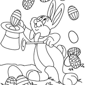 A Bunny Doing A Magic Trick Using Easter Eggs Coloring Page