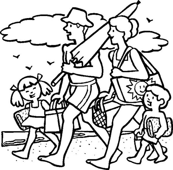 vacation coloring pages A Cheerful Family On Their Beach Vacation Coloring Page   Download  vacation coloring pages