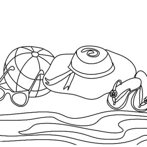 A Complete Beach Sets For A Girl Coloring Page