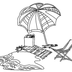 A Complete Beach Sets To Relax Coloring Page