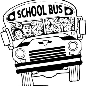 A Cramped School Bus On First Day Of School Coloring Page