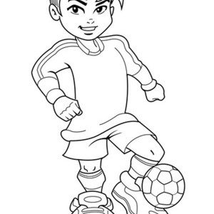 A Cute Boy On Complete Soccer Jersey Coloring Page