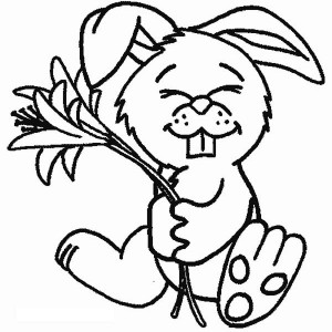 A Cute Bunny Holding A Flower Coloring Page