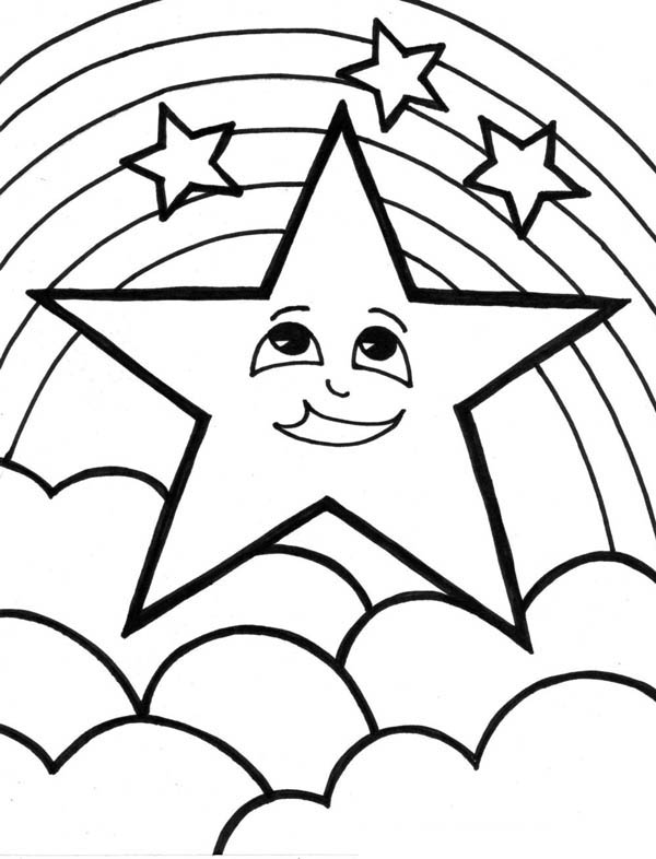 start coloring pages A Cute Start And The Rainbow Coloring Page   Download & Print  start coloring pages