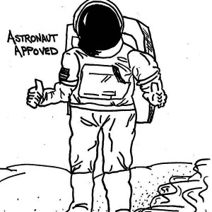 A Drawing Of An Astronaut In The Moon Surface Coloring Page