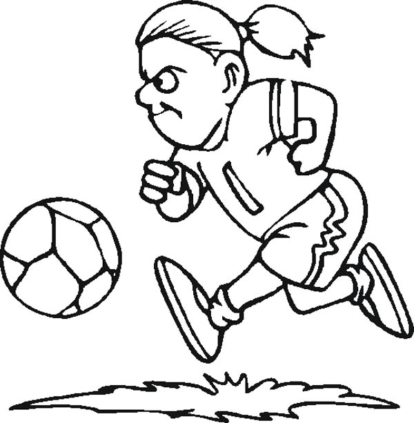 A Female Soccer Player Dribbling The Ball Coloring Page - Download & Print  Online Coloring Pages For Free Color Nimbus