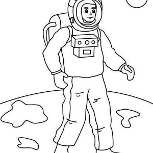 A Figure Of Astronaut On The Moon Surface Coloring Page