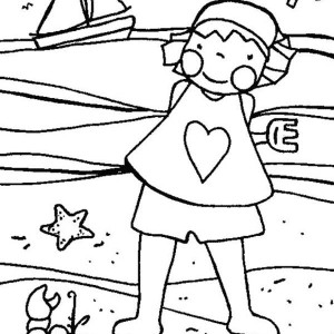 A Funny Little Girl Playing With A Beach Crab Coloring Page