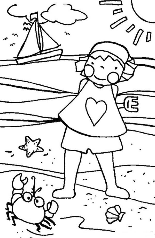A Funny Little Girl Playing With A Beach Crab Coloring