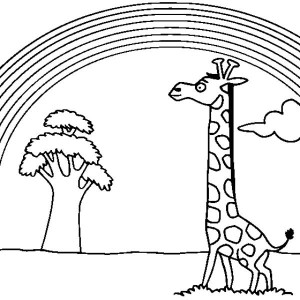 A Giraffe Watching Beautiful Rainbow Coloring Page