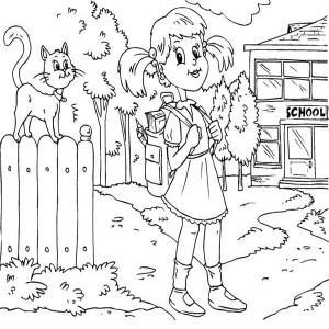 A Girl Student Waiting For The School Bus On The First Day Of School Coloring Page