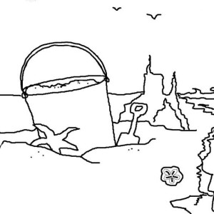A Graphic Drawing Of Beach Bucket Coloring Page