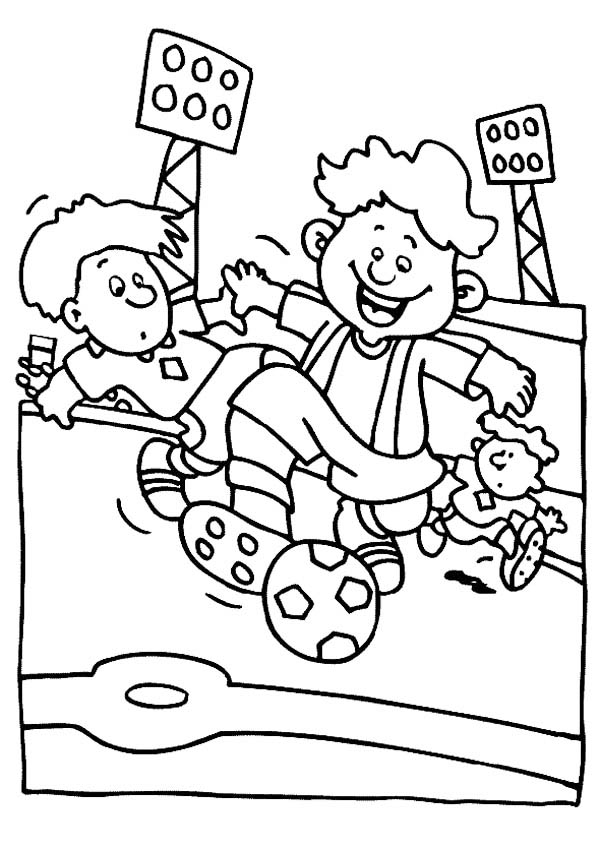A Group Of Boys Playing Soccer In A Stadium Coloring Page ...