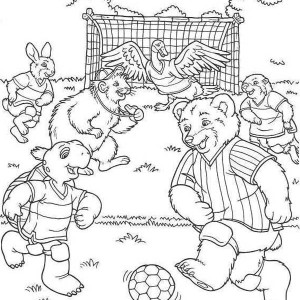 A Group Of Cute Animals Play Soccer In The Forest Coloring Page