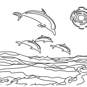 A Group Of Dolphin Near The Beach Coast Coloring Page