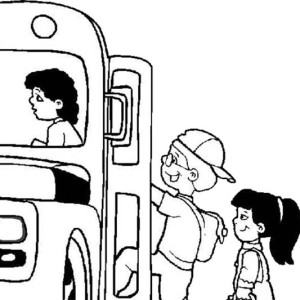 A Group Of Kids Hopping To The School Bus On First Day Of School Coloring Page
