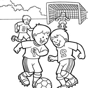 A Group Of Kids Playing Soccer In The School Yard Coloring Page