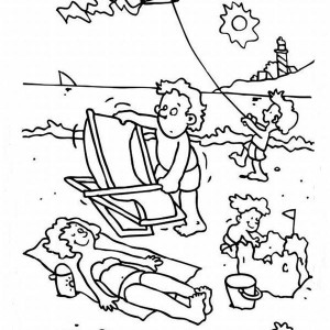 A Happy Beach Activities For A Family Coloring Page