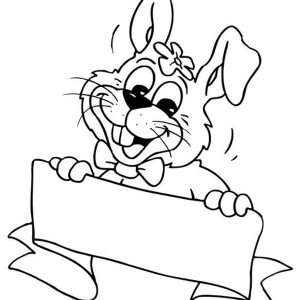 A Happy Bunny Holding A Sign Board Coloring Page