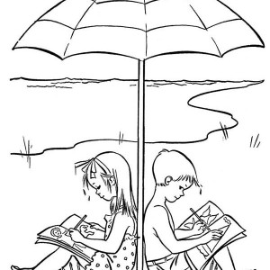 A Happy Drawing On Beach Holiday Coloring Page