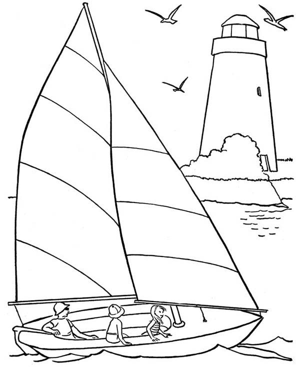 A Happy Family On Beach Sailing Coloring Page - Download ...