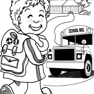 A Happy Little Boy On First Day Of School Coloring Page
