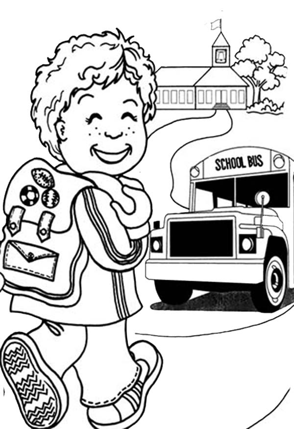 - A Happy Little Boy On First Day Of School Coloring Page - Download & Print  Online Coloring Pages For Free Color Nimbus