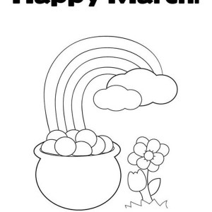 A Happy March With Leprechaun Rainbow Gold Pot Coloring Page