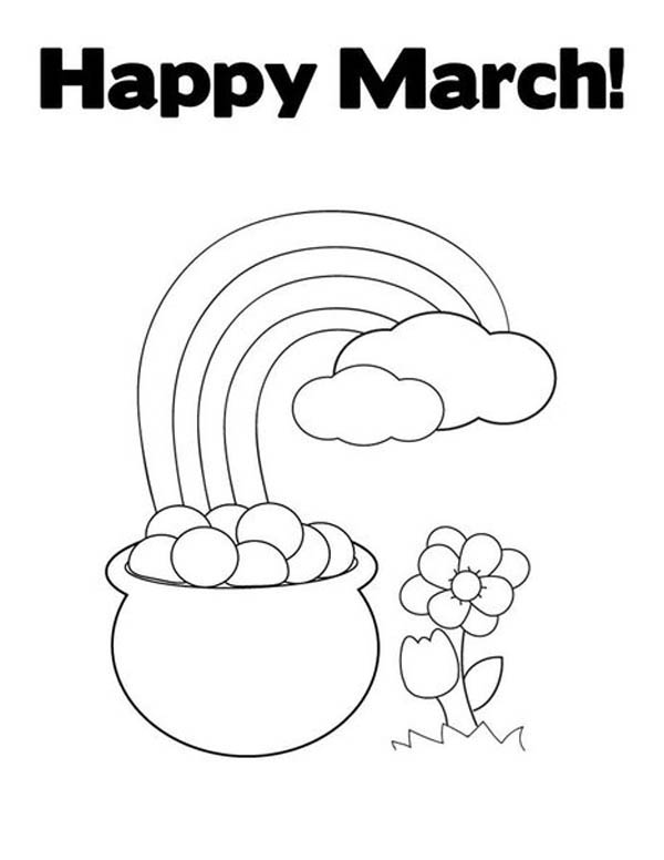 A Happy March With Leprechaun Rainbow Gold Pot Coloring ...