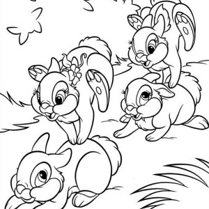 A Happy Playing With Thumpers Family Coloring Page