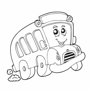 A Happy School Bus Is Very Excited For The First Day Of School Coloring Page