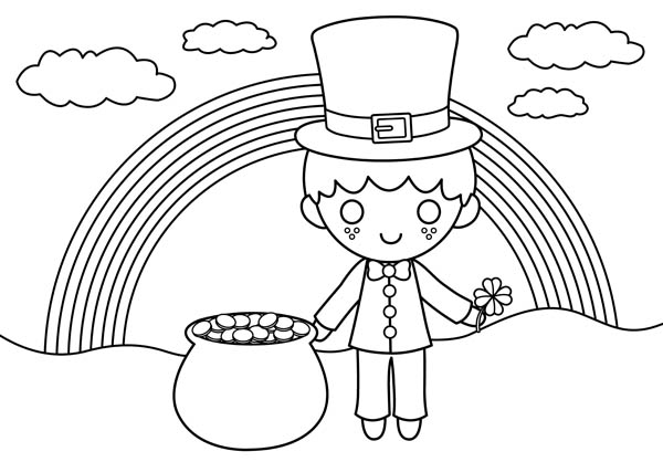 A Happy St Patricks Day With Rainbow And Gold Pot Coloring ...