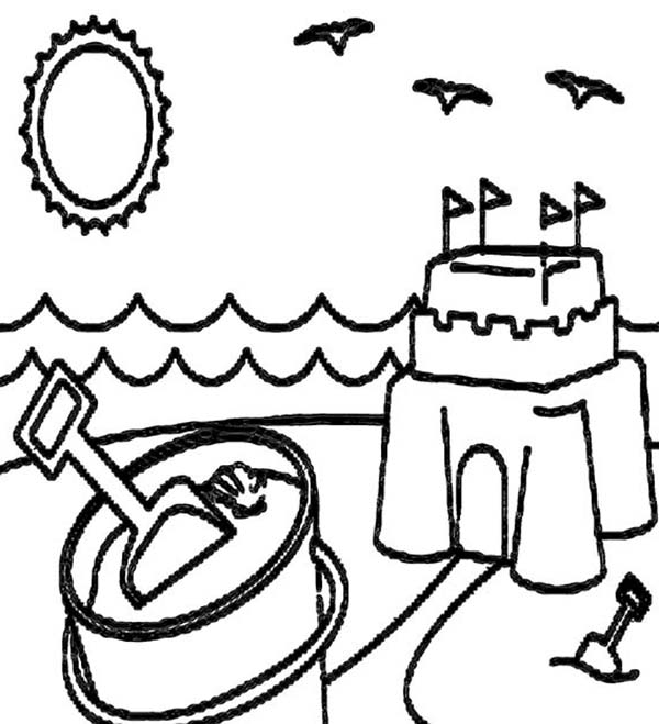 a happy summer beach vacation coloring page