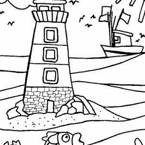 A Huge Lighthouse Near The Beach Shore Coloring Page