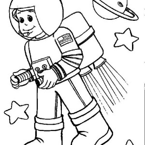 A Kid Wearing An Astronaut Suit With Rocket Booster Coloring Page