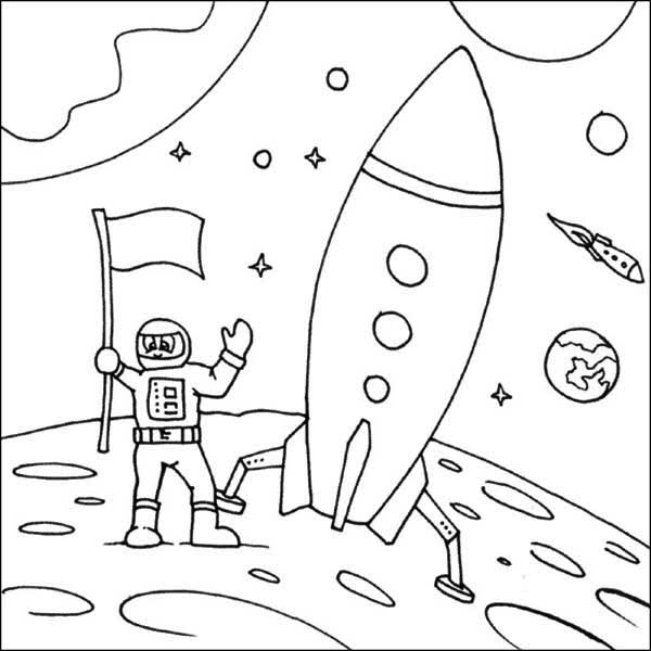 A Kids Drawing Of Astronaut And His Space Shuttle Coloring Page