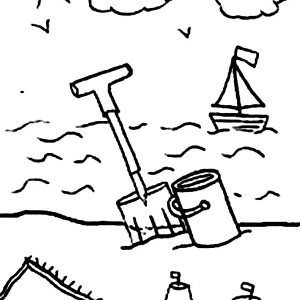 A Kids Drawing Of Beach Activity Coloring Page