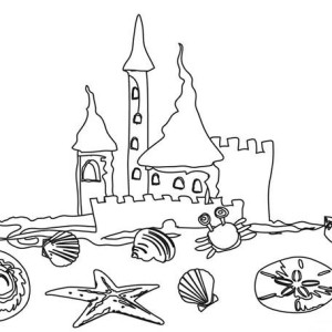 A Kids Drawing Of Beach Sand Castle Coloring Page