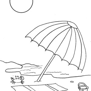 A Kids Drawing Of Beach Umbrella Coloring Page